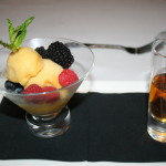 Bowl of fresh fruit and sorbet plus glass of cognac - St Simons Island GA 2014  King and Prince Hotel - Echo Lounge